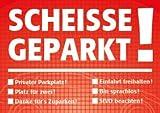 Notizblock 'Scheiße geparkt!', für die Windschutzscheibe, rot, Block à 50 Blatt, DIN A7, mehrere Auswahlmöglichkeiten zum Ankreuzen, Verkehrssünder, Verkehrsrowdys, Parksünder (1)