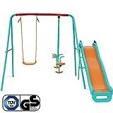 Yorbay Schaukel Kinderschaukel Gartenschaukel belastbar bis 135Kg, mehr Kinder gleichzeitig spielen (Brettschaukel mit Tellerwippe mit Rutsche)