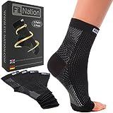 Fit Nation - (2 Paar) Kompressionssocken / Fußgelenk Bandage für effektive Kompression beim Laufen & Sport - Kompressionsstrümpfe für Damen & Herren Schwarz L/XL