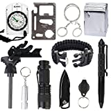 Amagle 11 in 1 Selbsthilfe Außen Survival Kit Set Notfall Wandern Werkzeuge, Feuer-Starter,Taschenlampe,Rettungsdecken, Survival-Armbändern, Multi-Tool-Karte, Kompass, Tactical Pen,Survival Whistle,Key Chain Light ,Wasserdichte Survival Kit Box