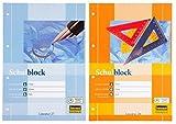 10 Schulblöcke /Schreibblöcke Mix je 5x liniert | kariert DIN A4 / 50 Blatt je Block (10er Packung, Schulblock | Mix)