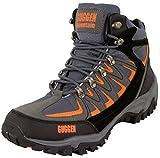 GUGGEN MOUNTAIN, Bergschuhe Bergstiefel Wanderschuhe Wanderstiefel Mountain Boots Trekkingschuhe mit echtem Leder, Farbe Grau-Orange, EU 42