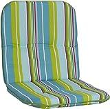 Gartenstuhlauflage Gartenstuhlkissen Sitzkissen Polster für Niedriglehner Gartenstühle Streifen hellgrün türkis hellblau weiss