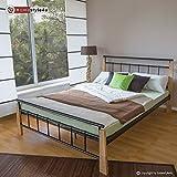 Homestyle4u Metallbett 160 x 200 Bettgestell Doppelbett Bettrahmen + Lattenrost 5072 natur
