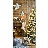Textilbanner - Thema: Weihnachten - Geschmückter Weihnachtsbaum - 180cmx90cm - Banner zum Hängen & Dekorieren