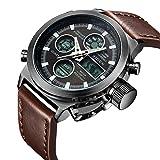 Armbanduhr, Herren Uhren Digital Analog Sport Fashion Armbanduhr, Multifunktions LED Datum Alarm braun Leder Wasserdicht Armbanduhr