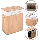 COSTWAY Wäschebox Wäschekorb Wäschetruhe Wäschesammler Wäschetonne Bambus mit Wäschesack 105L faltbar (Natur)