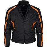 Limitless Herren Motorradjacke mit Protektoren und Reflektoren - Textil Motorrad Jacke aus Cordura - wasserdicht winddicht Schwarz Orange 784 Gr. L