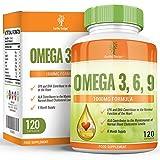 Omega 3 6 9 - 1000mg Omega-3 Fischöl mit Flachsamenöl, Sonnenblumenöl & Vitamin E - Hoch Potentes EPA DHA für Frauen und Männer - 120 Kapseln (2 Monate Vorrat) von Earths Design