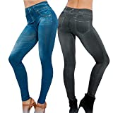 Damen Jeggings 2 stk. (Schwarz + Blau) Herbst skinny Leggings Jeans Look stretch Leggins elastisch Treggings dehnbar (L / XL, Schwarz + Blau)