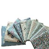 Souarts 10 Stück Stoffpakete DIY Kleine Blume Muster Baumwolltuch Patchwork Stoffe Paket Stoffset 50x50cm Grün