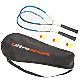 Ultrasport Fastball-Set Turbo-Badminton, Badminton Set mit 2 Schlägern und 3 Federbällen, Speedbadminton Set inklusive Tragetasche, ideal für das schnelle Match zwischendurch, Blau
