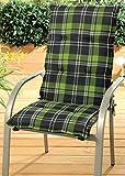 Stuhlauflage Hochlehner Auflage Sitzauflage Gartenstuhlauflage anthrazit grün kariert
