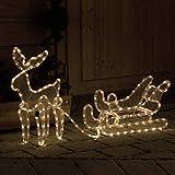 Rentier mit Schlitten von 216 LED beleuchtet Weihnachtsbeleuchtung von Gartenpirat