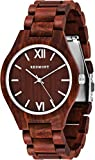 OLIVER REDMONT Holzuhr aus echtem Sandelholz | RED EDITION | Edle Geschenk-Verpackung aus Bambus-Holz | Naturprodukt | Herren Holz-Armbanduhr