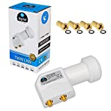 Twin LNB LNC 2 Teilnehmer Direkt Quattro Switch FULL HD TV 3D + Kontakte vergoldet + Wetterschutz (ausziehbar) in HB DIGITAL SET mit 4 F-Stecker vergoldet GRATIS dazu