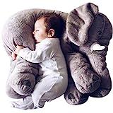 KiKa Monkey Baby Kinderkopfkissen Kleinkind Schlaf Grauer Elefant elephant pillow Stuffed Plüsch Kissen Kinderzierkissen Plüschtiere 100% Baumwolle (groß Grau)