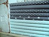 Lottashaus no177 10x Stoff Stoffpaket Mint Grau Stoffe Patchwork Sterne Shabby chic