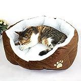 MFEIR Hundebett Katzenbett Baumwolle Pet Bett Kissen für Hunde Katzen Kleintiere,Braun,Klein