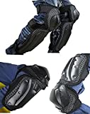 Herren Motorradprotektor, Knieschützer Schienbeinschoner / Ellenbogenschoner für Downhill Mountain Bike Moto Cross Enduro MTB MX FR, 4 Stk Set (schwarz)