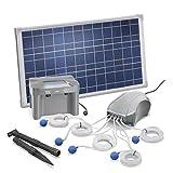 Solar Teichbelüfter 25W Solarmodul 5 x 120l/h Luftleistung 600l/h gesamt + Akkuspeicher 12V/7Ah Gartenteich Sauerstoffpumpe esotec pro Komplettset 101086