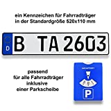 1 Fahrradträger Kennzeichen | DIN-zertifiziert & reflektierend inklusive einer Parkscheibe