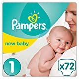 Pampers Premium Protection New Baby Windeln, Gr. 1 Newborn (2-5 kg), Halbmonatsbox, 1er Pack (1 x 72 Stück)