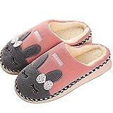 SAGUARO® Winter Baumwolle Pantoffeln Plüsch Wärme Weiche Hausschuhe Kuschelige Home Rutschfeste Slippers mit Cartoon für Herren Damen, Pink 40
