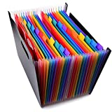 Buoyancy 12/24 Pockets Expanding Files Folder Multicolour Portable Accordion Folder Document Wallet Plastic A4 Business File Folder Organizer Bag(24 Pockets )