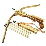 Holzarmbrust Kinder Armbrust Bogen aus Bambus Holz mit 10 Gummi Pfeile & Köcher