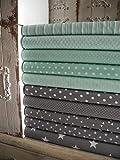 Lottashaus no182 10x Stoff Stoffpaket Mint Grau Stoffe Patchwork Sterne Shabby chic