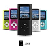 Btopllc MP3-Player, MP4 Spieler, Digital Music Player 16 GB interne Speicherkarte, Tragbarer und kompakter MP3 / MP4 Musik-Player, Media Player, Video Player, Video, Ebook, Bild Musik Spieler -schwarz