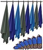 Fit-Flip Microfaser Handtuch – federleicht, ultra saugstark und schnelltrocknend – (1x 140x70cm + 1x Tasche, Meerblau)