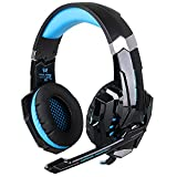 EasySMX ESM939P Plus Wired Gaming Headset für PS4 Kompatibel mit PC Mobile Tablet Closed-Back Earcups Abnehmbare Mikrofon In-line Lautstärkeregelung (Schwarz+Blau)