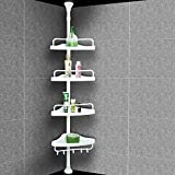 Badregal ohne Bohren 4 Ablagen 155-285 cm weiß Duschablage Eckregal Bad Teleskop Regal Duschecke