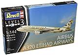 Revell Modellbausatz Flugzeug 1:144 - Airbus A320 ETIHAD AIRWAYS im Maßstab 1:144, Level 3, originalgetreue Nachbildung mit vielen Details, Zivilflugzeug, Passagierflugzeug, 03968
