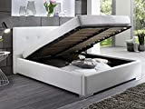 Polsterbett BETTY Kunstleder Bett mit Bettkasten Lattenrost 160x200 Weiss Doppelbett