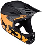 UVEX Erwachsene 9 Bike Fullfacehelm, Black/Orange, 53-54