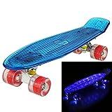 Ancheer Mini-Cruiser-Skateboard 55cm Skateboard mit oder ohne LED Deck,alle mit LED Leuchtrollen,mit USB Kabel aufzuladen,Farbe:Deck in Blau mit LED / Rollen in Rot mit LED