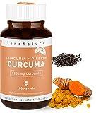 Hochdosierte Curcuma/Kurkuma + Piperin Kapseln mit 1100mg reinem Curcuminoide Gehalt. 120 Kapseln im Monatsvorrat. Laborgeprüft, hohe Bioverfügbarkeit, vegan + hergestellt in DE.