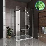 Echtglas Duschkabine inkl. Glasveredelung Duschabtrennung Komplettdusche Wannenmaß 120x100x195 Fertigdusche Duschtür