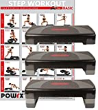 POWRX Steppbrett XL Premium inkl. Workout I 3-Stufen Höhenverstellbar I Home-Stepper Stepbench...