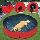 WISFORBEST Hundepool, Doggy Pool das Planschbecken Hundepool Swimmingpool aus Rot Umweltfreundliche PVC Faltbare Haustier Badewanne für Hunde Katzen Kinder, 80/120/160cm (XL: 120×30cm)