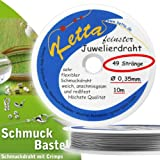 Schmuckdraht - 0,35 mm - 49 Stränge - silber - ORIGINAL KETTA Juwelierdraht + Bastelanleitung