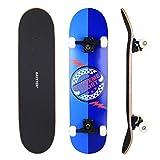BAYTTER Skateboard Komplett Board Funboard 79x20cm mit 7-lagigem Ahornholz und ABEC-11 Kugellager 95A Rollenhärte, für Kinder, Jugendliche und Erwachsene, 3 Farben wählbar (blau)