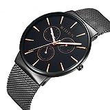 Herren-Armbanduhr, aus Edelstahl, für Arbeit oder Freizeit, luxuriös, wasserdicht, klassisch, Quarzuhr, in Schwarz,  Metallnetzarmband, Milanaise-Armband, multifunktional