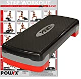 POWRX Steppbrett inkl. Workout I Stepper verstellbar für Aerobic, Gymnastik und Fitness I Home Step...