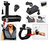 Jun-in Zubehör-Set für Sony Action Cam HDR-AS15/HDR AS20/AS30V/AS100Sitzkissen/Sony Action Cam hdr-az1Mini Kameras Handschlaufe Band Halterung + verstellbarer Schultergurt Halterung mit 1/10,2cm Adapter und lange Schraube + 360'Rotary Rucksack Hat rec-mounts Clip Fast Clamp Mount