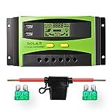 Sunix 20A 12V / 24V Solarladeregler, verbesserter intelligenter Solarladeregler mit Batteriesicherung, 2 USB-Anschlussanzeige, Überlastungsschutz Temperaturkompensation