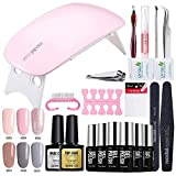 Modelones uv nagellack Starter Set Kit mit UV/LED lichthärtungsgerät mini nageltrockner top coat & base coat und 6 Gellacke